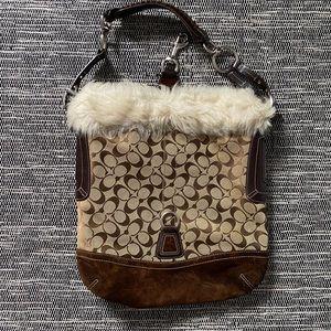 Coach fur trim purse